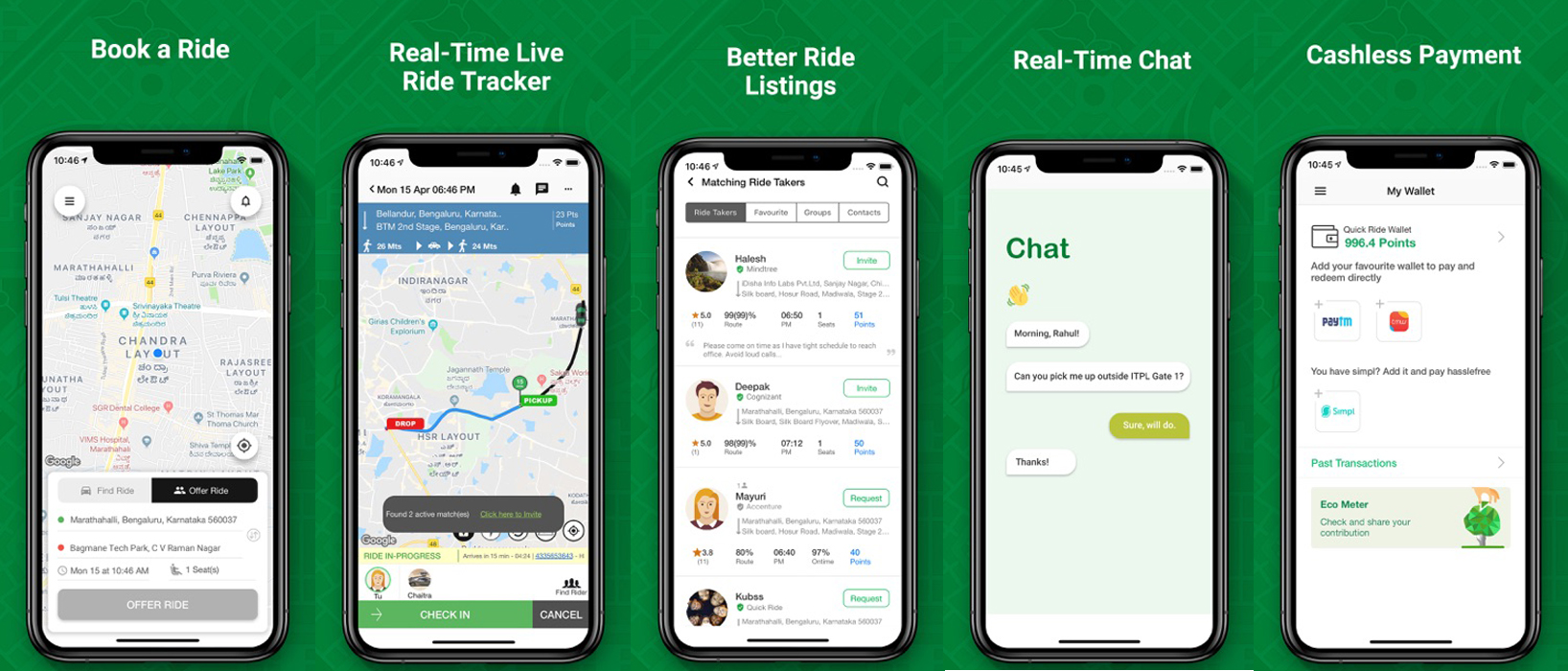 How Does Quick Ride, sRide like Carpooling App Work