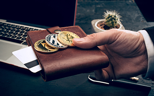 A Person Holding Physical Wallet with Bitcoin
