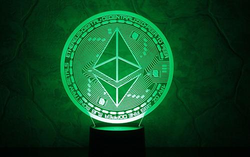 A Luminating Green Ethereum Symbol